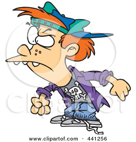 Royalty-Free (RF) Clip Art Illustration of a Cartoon Bully Boy by toonaday