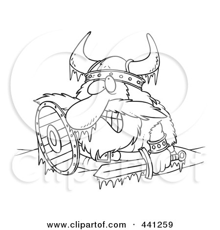 Royalty-Free (RF) Clip Art Illustration of a Cartoon Black And White Outline Design Of A Frozen Viking by toonaday