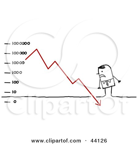 Clipart Illustration of a Stressed Stick Business Man Standing Over A Descending Financial Chart by NL shop