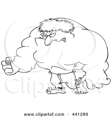 Royalty-Free (RF) Clip Art Illustration of a Cartoon Black And White Outline Design Of A Big Green Man by toonaday