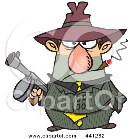Royalty-Free (RF) Clip Art Illustration of a Cartoon Gangster Holding A Gun And Smoking A Cigar by toonaday