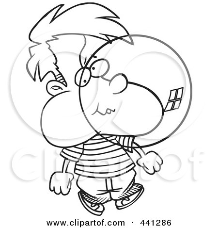 Cartoon Of An Outlined Boy Blowing A Bubble With Chewing Gum ...