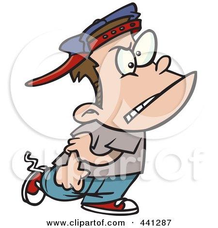 Royalty-Free (RF) Clip Art Illustration of a Cartoon Mean Bully Boy Walking by toonaday
