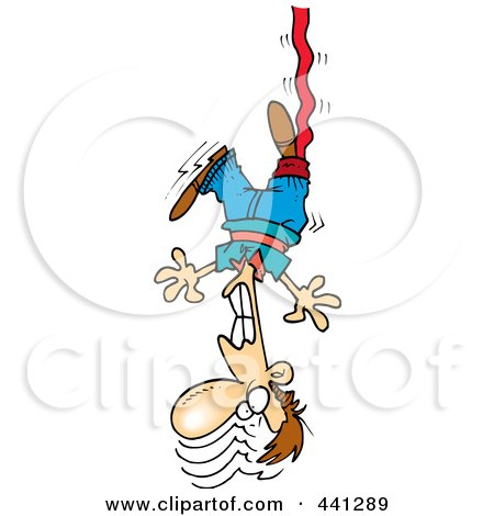 Clipart of a Happy White Boy Bungee Jumping - Royalty Free ...