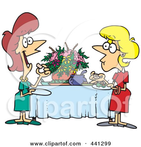 Royalty-Free (RF) Clip Art Illustration of a Cartoon Ladies Talking And Eating At A Buffet by toonaday