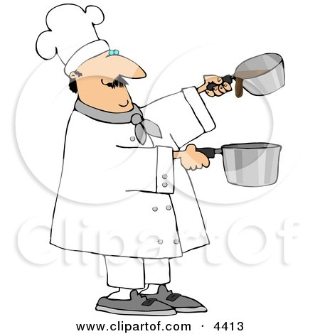 Professional Male Chef Making Gravy Clipart