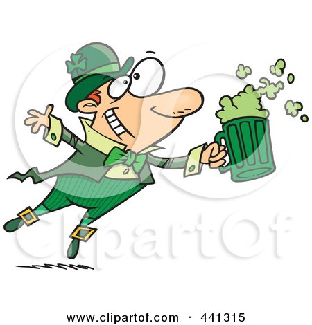 Royalty-Free (RF) Clip Art Illustration of a Cartoon Toasting Leprechaun by toonaday