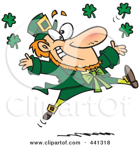 Royalty-Free (RF) Clip Art Illustration of a Cartoon Leaping Leprechaun by Ron Leishman
