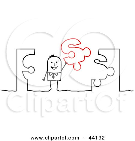 Clipart Illustration of a Stick Businessman Holding Up A Dollar Sign Jigsaw Puzzle Piece by NL shop