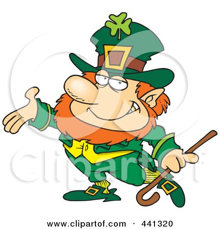 Royalty-Free (RF) Clip Art Illustration of a Cartoon Presenting Leprechaun by Ron Leishman