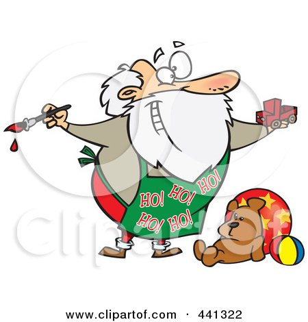 Royalty-Free (RF) Clip Art Illustration of a Cartoon Santa Painting A Toy Truck In A Workshop by toonaday