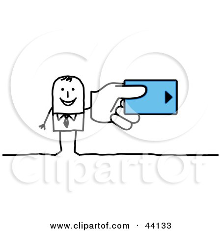 Stick Businessman Holding A Hotel Room Key Card, Or A Credit Card Posters, Art Prints