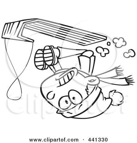 Royalty-Free (RF) Clip Art Illustration of a Cartoon Black And White Outline Design Of A Boy Going Upside Down On His Sled by toonaday