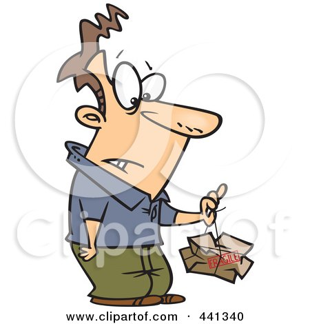 Royalty-Free (RF) Clip Art Illustration of a Cartoon Man Lifting A Crushed Fragile Parcel by toonaday