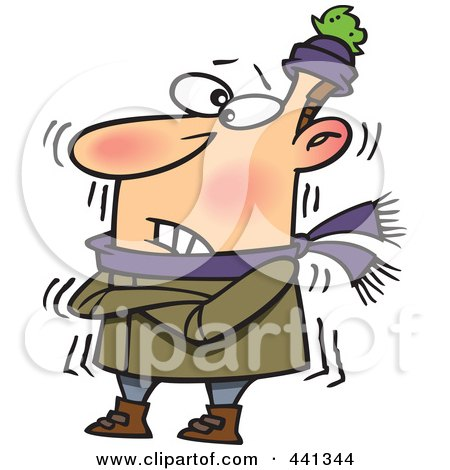 Royalty-Free (RF) Clip Art Illustration of a Cartoon Cold Man Shivering by toonaday
