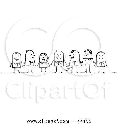 Clipart Illustration of a Line Of Stick Business Men And Women Smiling by NL shop