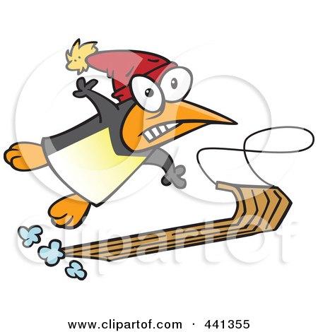 Royalty-Free (RF) Clip Art Illustration of a Cartoon Sledding Penguin by toonaday