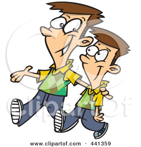 Cartoon Big Brother Walking With His Little Brother Posters, Art Prints