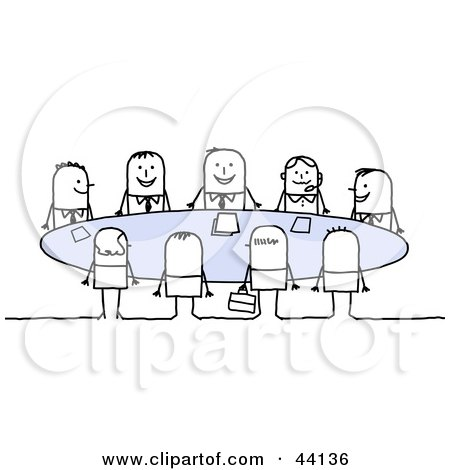 Clipart Illustration of a Happy Group Of Business Stick People Sitting Around A Table In A Meeting by NL shop
