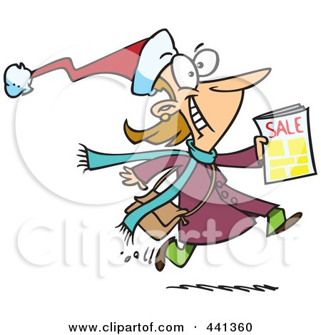 Royalty-Free (RF) Clip Art Illustration of a Cartoon Excited Black Friday Shopper Running With A Sale Ad by toonaday