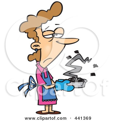 Royalty-Free (RF) Clip Art Illustration of a Cartoon Grumpy Woman Holding A Burnt Cake by toonaday