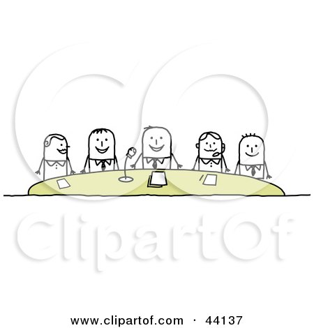 Group Of Corporate Stick People Holding A Conference Posters, Art Prints