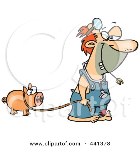 Royalty-Free (RF) Clip Art Illustration of a Cartoon Hillbilly Doctor With A Pet Pig by toonaday