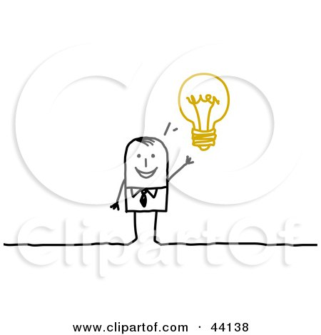 Clipart Illustration of a Smart Stick Businessman With An Idea Displayed As A Light Bulb by NL shop