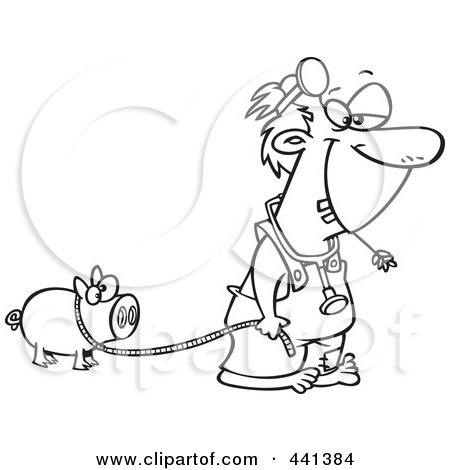 Royalty-Free (RF) Clip Art Illustration of a Cartoon Black And White Outline Design Of A Hillbilly Doctor With A Pet Pig by toonaday