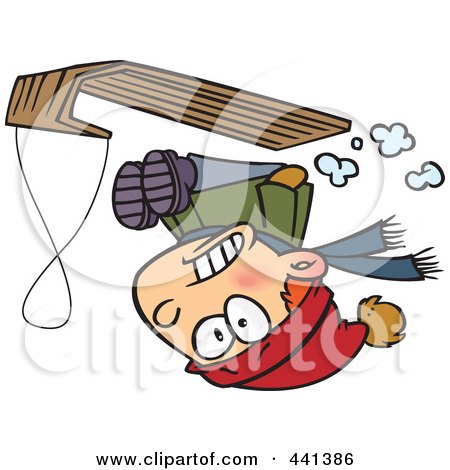 Royalty-Free (RF) Clip Art Illustration of a Cartoon Boy Going Upside Down On His Sled by toonaday