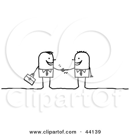 Clipart Illustration of Two Stick Businessmen Shaking Hands by NL shop