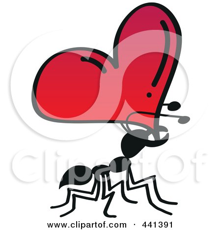 Royalty-Free (RF) Clip Art Illustration of a Romantic Ant Carrying A Heart by Zooco