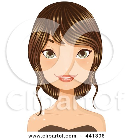 Royalty-Free (RF) Clip Art Illustration of a Young Woman With Her Long Brunette Hair Up by Melisende Vector