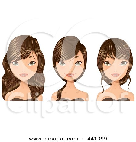Royalty-Free (RF) Clip Art Illustration of a Digital Collage Of A Young Woman With Long Brunette Hair by Melisende Vector