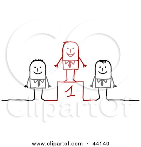 Clipart Illustration of a Successful Stick Businessman Standing On An Upper Platform Over Two Contestants by NL shop