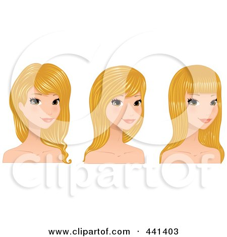 Royalty-Free (RF) Clip Art Illustration of a Digital Collage Of A Beautiful Young Woman With Long Blond Hair Styles by Melisende Vector