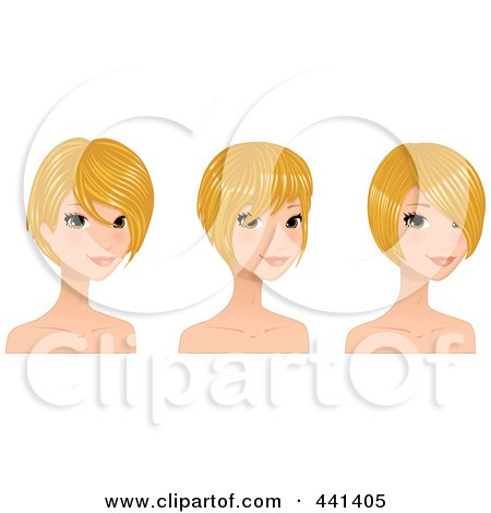 Royalty-Free (RF) Clip Art Illustration of a Digital Collage Of A Beautiful Young Woman With Short Blond Hair Styles by Melisende Vector