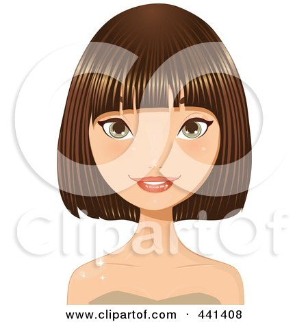 Royalty-Free (RF) Clip Art Illustration of a Brunette Woman Smiling With A Short Hair Cut - 2 by Melisende Vector