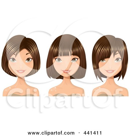 Royalty-Free (RF) Clip Art Illustration of a Digital Collage Of Brunette Women Smiling With Short Hair Cuts by Melisende Vector