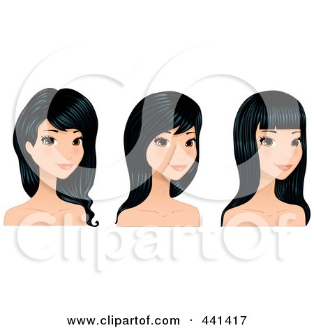 Royalty-Free (RF) Clip Art Illustration of a Digital Collage Of A Young Woman With Long Black Hair Styles by Melisende Vector