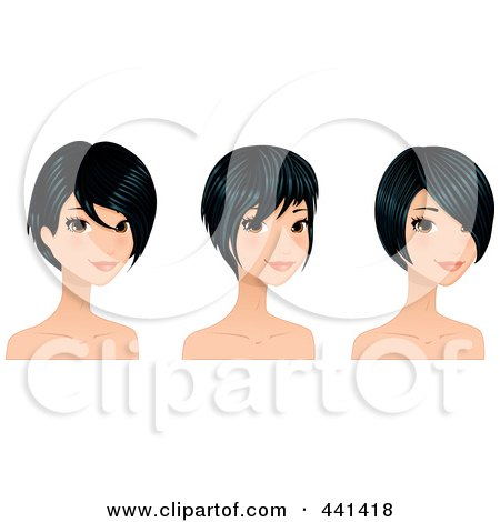 Royalty-Free (RF) Clip Art Illustration of a Digital Collage Of A Young Woman With Sgirt Black Hair Styles by Melisende Vector
