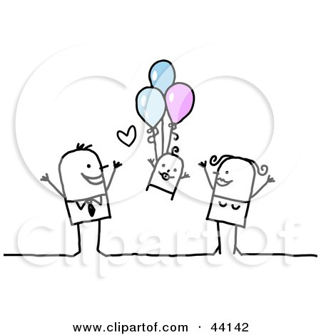Clipart Illustration Of A Stick Mom And Dad Watching Their Baby Float Up While Holding Onto Balloons By Nl Shop 44142