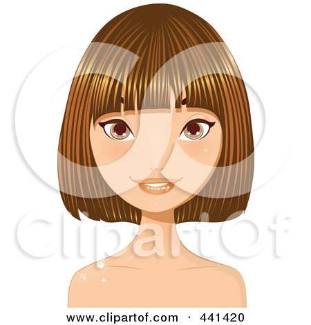 Royalty-Free (RF) Clip Art Illustration of a Pretty Young Woman With Short Highlighted Brunette Hair - 2 by Melisende Vector