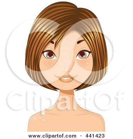 Royalty-Free (RF) Clip Art Illustration of a Pretty Young Woman With Short Highlighted Brunette Hair - 1 by Melisende Vector