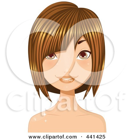 Royalty-Free (RF) Clip Art Illustration of a Pretty Young Woman With Short Highlighted Brunette Hair - 3 by Melisende Vector