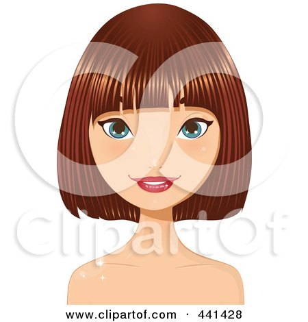 Royalty-Free (RF) Clip Art Illustration of a Pretty Young Woman With Short Highlighted Red Hair - 2 by Melisende Vector