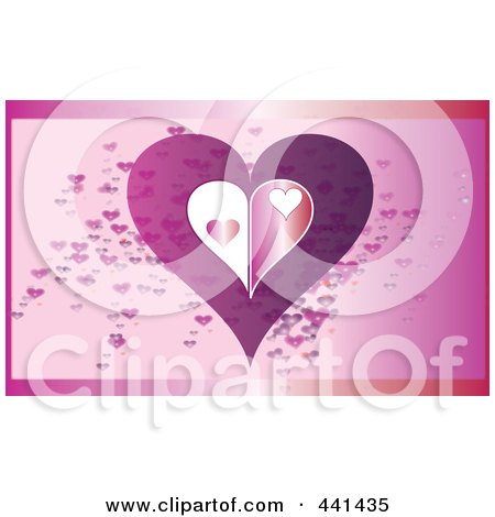 Royalty-Free (RF) Clip Art Illustration of an Abstract Heart Over Pink by JR
