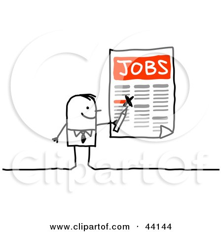 Stick Businessman Highlighting Job Openings On A Poster Posters, Art Prints