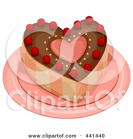 Royalty-Free (RF) Clip Art Illustration of a Heart Cake On A Plate by BNP Design Studio