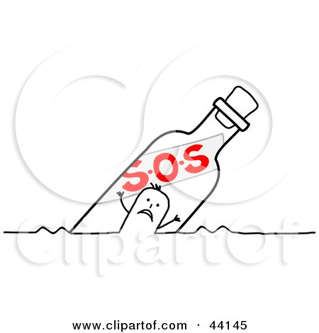 Clipart Illustration of a Stick Man Floating In An SOS Bottle by NL shop